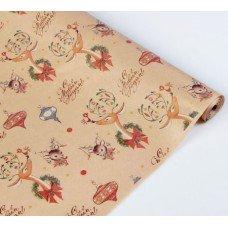Бумага-крафт упаковочная 0.72 x 10 м новогодняя