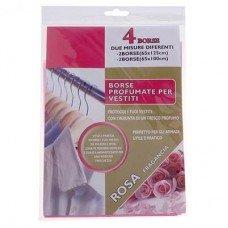 Набор ароматизированных пакетов для одежды 4шт. (роза)